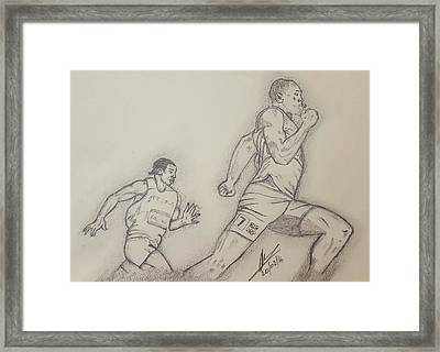 London 2012 Mens 200m Final Framed Print by Collin A Clarke