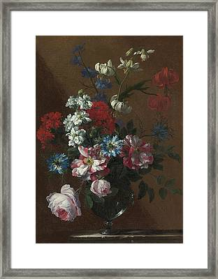 London Bouquets Of Flowers In Glass Vases  Framed Print by MotionAge Designs