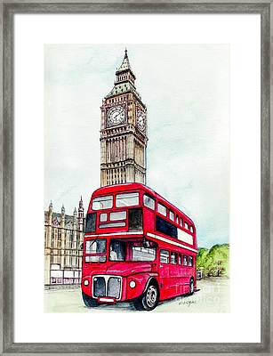 London Bus And Big Ben Framed Print by Morgan Fitzsimons