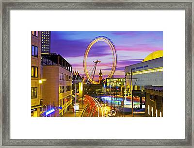 London Cityscape With The London Eye And Big Ben Framed Print by Scott E Barbour