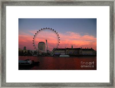 London Eye And South Bank At Sunset Framed Print by James Brunker