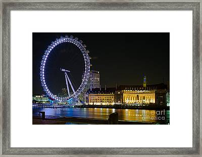 London Eye At Night Framed Print by Clarence Holmes