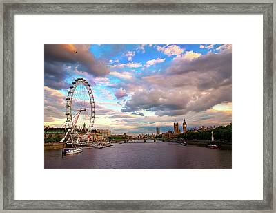 London Eye Evening Framed Print by Kapuk Dodds