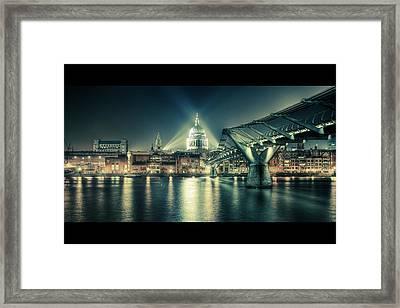 London Landmarks By Night Framed Print by Araminta Studio - Didier Kobi
