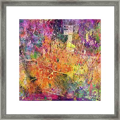 London Map Abstract  Framed Print by Mark Ashkenazi