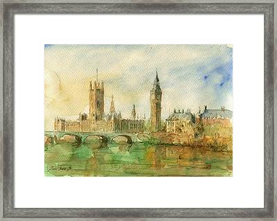 London Parliament Framed Print by Juan  Bosco