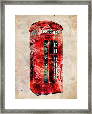 London Phone Box Urban Art Framed Print by Michael Tompsett