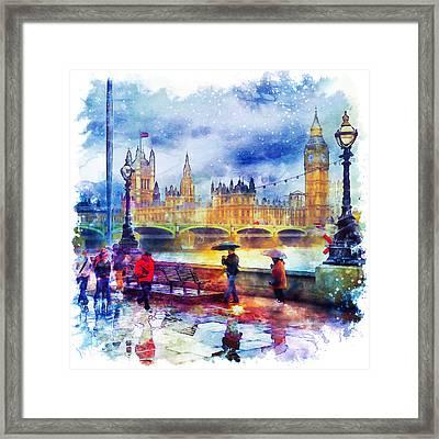 London Rain Watercolor Framed Print by Marian Voicu