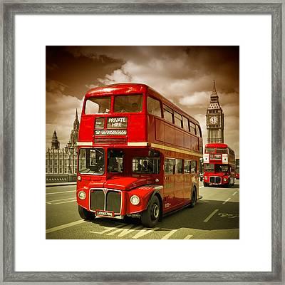 London Red Buses On Westminster Bridge II Framed Print by Melanie Viola