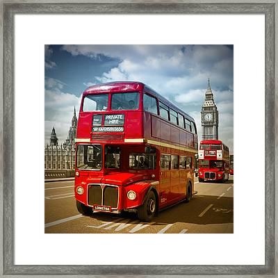 London Red Buses On Westminster Bridge IIi Framed Print by Melanie Viola