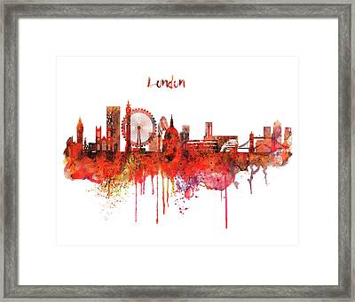 London Skyline Watercolor Framed Print by Marian Voicu
