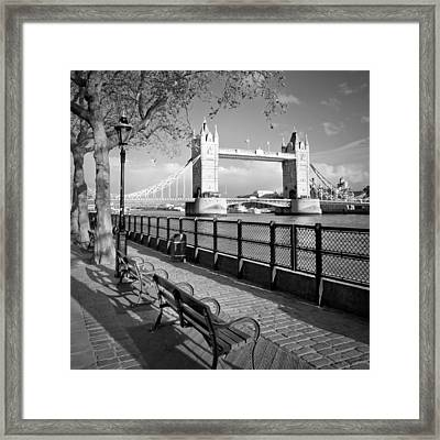 London Thames Riverside And Tower Bridge Framed Print by Melanie Viola