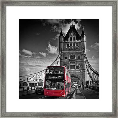 London Tower Bridge And Red Bus Framed Print by Melanie Viola