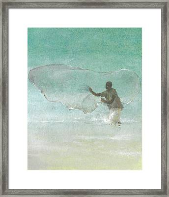 Lone Fisherman Five Framed Print by Lincoln Seligman