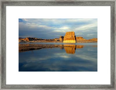 Lone Rock Glow Framed Print by Mike  Dawson