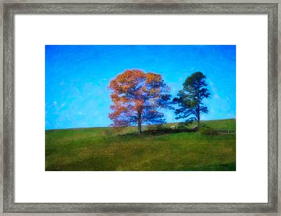 Lone Trees Painting Framed Print by Teresa Mucha