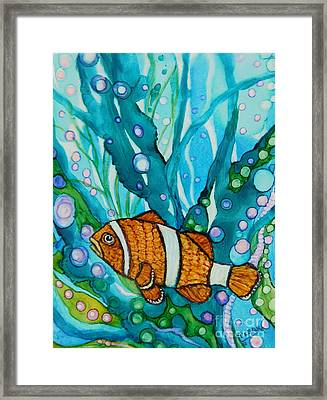 Lonely Clown Fish Framed Print by Joan Clear