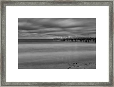 Lonely Morning At The Pier Framed Print by Andres Leon