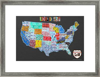 Loners On Wheels Singles Rv Club License Plate Map Usa Road Trip Framed Print by Design Turnpike