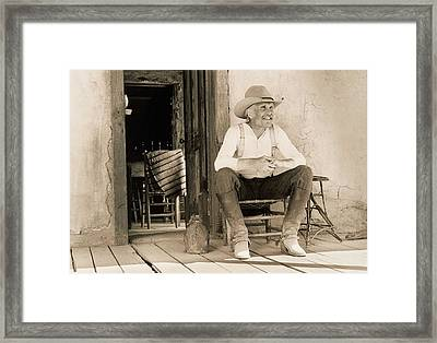 Lonesome Dove Gus On Porch Signed Print Framed Print by Peter Nowell