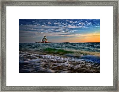 Long Beach Bar Lighthouse Framed Print by Rick Berk