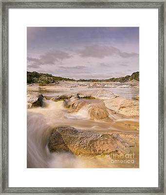 Long Exposure Of The Pedernales River - Pedernales Falls State Park Texas Hill Country Framed Print by Silvio Ligutti