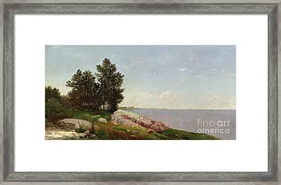 Long Island Sound At Darien Framed Print by John Frederick Kensett