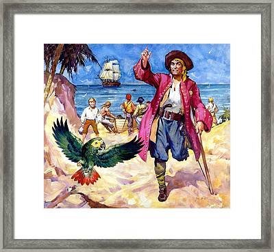 Long John Silver And His Parrot Framed Print by James McConnell