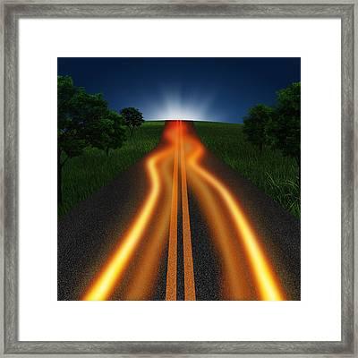 Long Road In Twilight Framed Print by Setsiri Silapasuwanchai