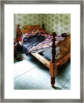 Long Sleeved Dress On Bed Framed Print by Susan Savad