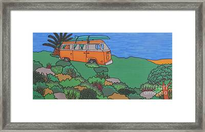 Longboard Camper Framed Print by Joanne Oram