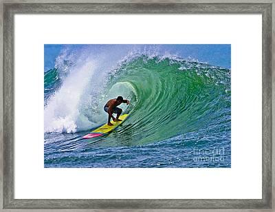 Longboarder In The Tube Framed Print by Paul Topp