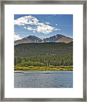 Longs Peak And Mount Meeker Above Lily Lake In Rocky Mountain National Park Colorado Framed Print by Brendan Reals