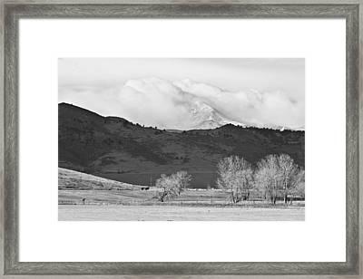 Longs Peak Snow Storm Bw Framed Print by James BO  Insogna