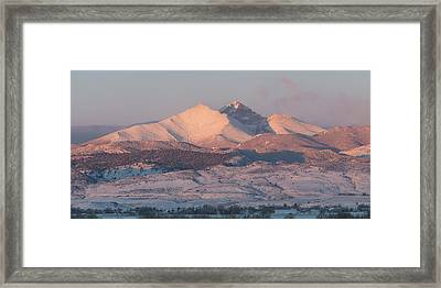Longs Peak Sunrise In Winter Framed Print by Aaron Spong