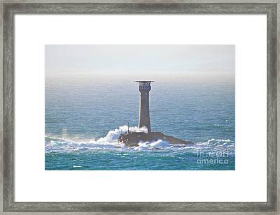 Longships Lighthouse From Pedn-men-du Framed Print by Terri Waters