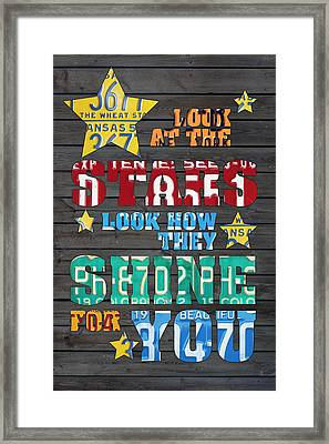 Look At The Stars Coldplay Yellow Inspired Typography Made Using Vintage Recycled License Plates Framed Print by Design Turnpike