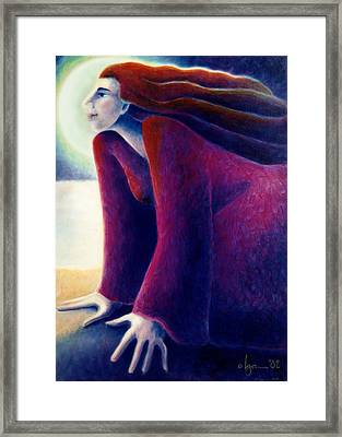 Look To The Moon Framed Print by Angela Treat Lyon