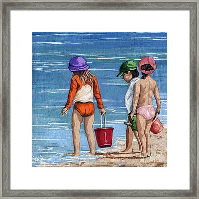 Looking For Seashells Children On The Beach Figurative Original Painting Framed Print by Linda Apple