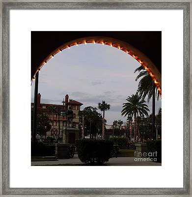 Looking Out Of The Archway Framed Print by D Hackett