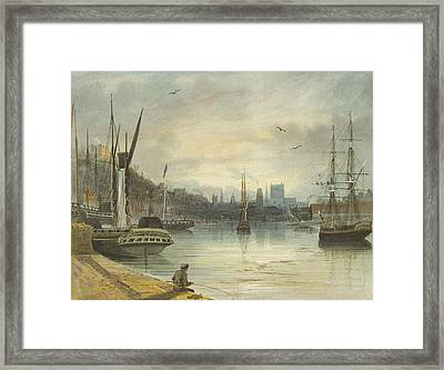 Looking Up The Floating Harbor Towards The Cathedral Framed Print by Thomas Leeson the Elder Rowbotham