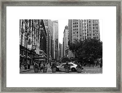 Looking Uptown Mono Framed Print by John Rizzuto