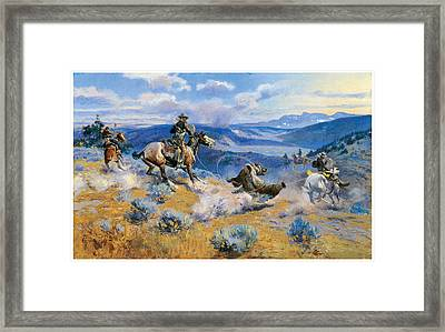 Loops And Swift Horses Are Suere Than Lead Framed Print by Charles Marion Russell
