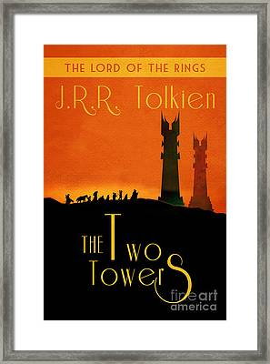 Lord Of The Rings The Two Towers Book Cover Movie Poster Art 1 Framed Print by Nishanth Gopinathan