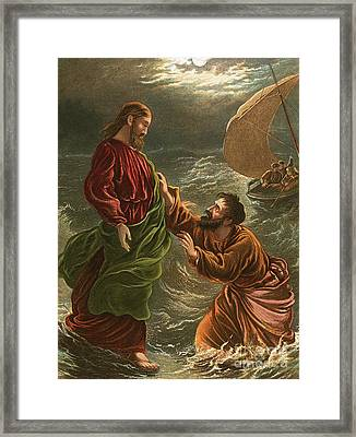 Lord, Save Me Framed Print by English School