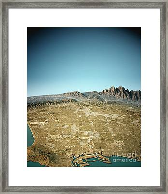 Los Angeles 3d View South To North Natural Color Framed Print by Frank Ramspott