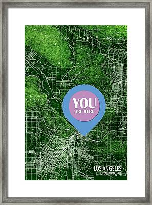 Los Angeles California 1894 Green Old Map You Are Here Framed Print by Pablo Franchi
