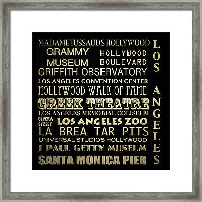 Los Angeles California Famous Landmarks Framed Print by Patricia Lintner