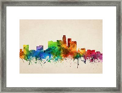 Los Angeles California Skyline 05 Framed Print by Aged Pixel