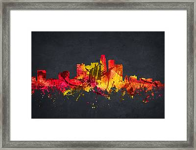 Los Angeles Cityscape 07 Framed Print by Aged Pixel
